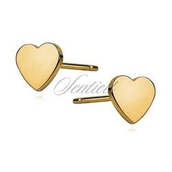 Srebrne kolczyki serduszka pozłacane - żółte złoto