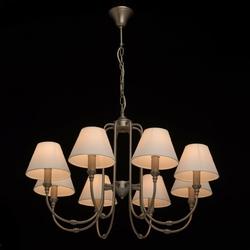 Lampa wisząca na 8 białych abażurów, satynowy nikiel, mw-light neoclassic 614012108