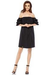 Czarna letnia sukienka trapezowa z dekoltem carmen