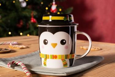 Kubek porcelanowy świąteczny dla dzieci  na prezent altom design pingwinek z pokrywką 330 ml