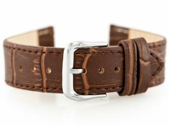 Pasek skórzany do zegarka W41 - ciemny brąz - 22mm
