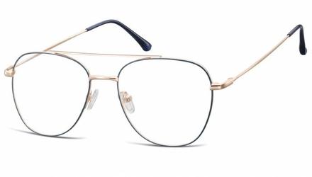 Oprawki okulary  pilotki zerówki korekcyjne 922e granatowo-złote