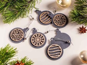 Zawieszki choinkowe  dekoracja na boże narodzenie drewniana altom design popielata okrągła z brokatem, komplet 6 zawieszek