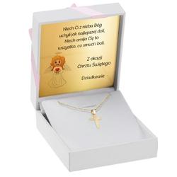 Złoty krzyżyk pr. 585 z łańcuszkiem prezent na chrzest komunię z grawerem - różowa