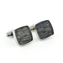 Kwadratowe spinki do mankietów kc-1067 onyx-art london