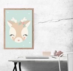 Sarenka miętowe tło - plakat wymiar do wyboru: 42x59,4 cm