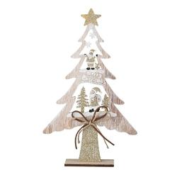 Figurka  ozdoba  dekoracja świąteczna drewniana święta boże narodzenie altom design choinka z mikołajami 17 x 4 x 27,5 cm