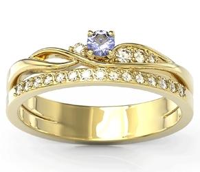 Pierścionek z żółtego złota z tanzanitem i brylantami bp-77z-tand - żółte  tanzanit