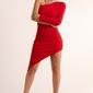 Czerwona asymetryczna ołówkowa sukienka na jedno ramię
