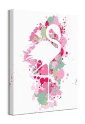 Splatter silhouette flamingo - obraz na płótnie