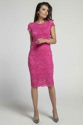 Koronkowa Różowa Ołówkowa Sukienka Midi z Dekoltem V na Plecach