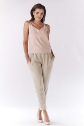 Beżowe Eleganckie Spodnie 78 z Mankietem