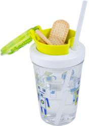 2w1 Butelka na napój 350ml z pojemnikiem na ciasteczka Contigo Snack tumbler - robot green - Zielony