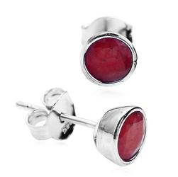 kolczyki srebrne z naturalnymi rubinami