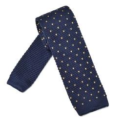 Granatowy krawat knit w różowe kropki