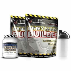 HI-TEC Whey Mass Builder - 6000g + Creatine Powder - 250g + Shaker - Vanilla  Vanilla