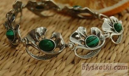 GRONIA - srebrna bransoleta z malachitami