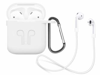 Silikonowe etui + pasek strap opaska do Apple AirPods biały - Biały
