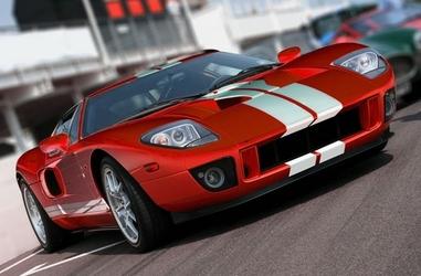 Czerwony sportowy samochód - fototapeta
