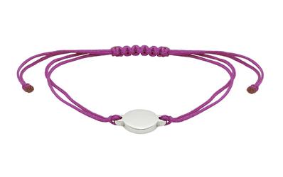 bransoletka magnetyczna 2756-2 na różowym tekstylnym sznureczku