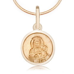 Staviori Wisiorek. Medalik z Matką Boską i Jezusem Żółte Złoto 0,333. Średnica 11 mm. Długość 16 mm.