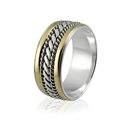 Obrączka srebrna męska ze złotem i warkoczami - wzór Ag-090
