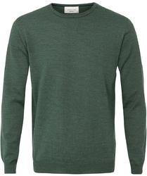 Sweter  pulower o-neck z wełny z merynosów zielony XXXL