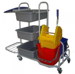 Wózek serwisowy do sprzątania z kuwetami