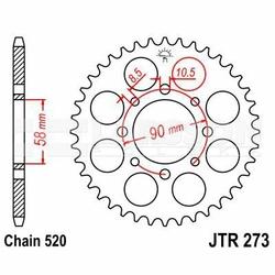 Zębatka tylna stalowa JT 273-39, 39Z, rozmiar 520 2302091 Honda XL 125