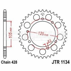 Zębatka tylna stalowa JT 1134-54, 54Z, rozmiar 428 2300609 Derbi Senda 125