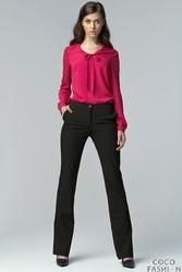 Czarne Klasyczne Eleganckie Spodnie z Prostymi Nogawkami