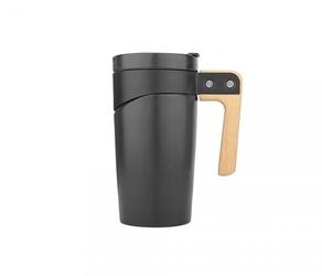 Kubek ceramiczny z drewnianą rączką 470 ml glory czarny