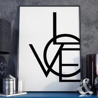 Modern love - plakat typograficzny w ramie , wymiary - 20cm x 30cm, wersja - czarne napisy + białe tło, kolor ramki - biały