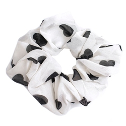 Gumka do włosów scrunchies biała serduszka frotka