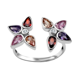 Staviori pierścionek. cyrkonia. srebro rodowane 0,925.   model ozdobiono kolorowymi cyrkoniami.