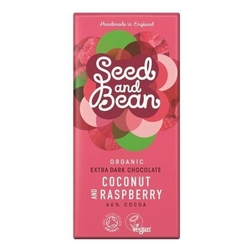Promocja seedbean | czekolada gorzka 66 kokosowo-malinowa 85g | organic