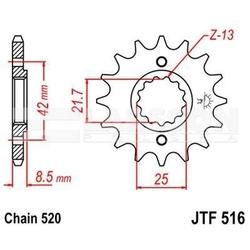 Zębatka przednia jt f516-16, 16z, rozmiar 520 2200681 kawasaki klr 600, klr 250