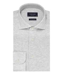 Elegancka siwa koszula męska z dzianiny slim fit 39