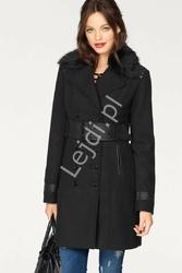 Czarny modny płaszcz z ćwiekami i elemantami z ekoskórki melrose
