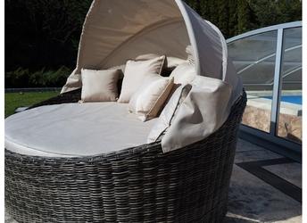 Łóżko ogrodowe z daszkiem miron technorattan grafitowo-brązowy