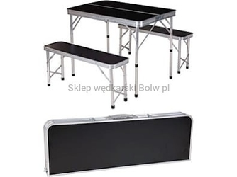 Zestaw piknikowy campingowy składany stół + 2 ławki aluminiowy