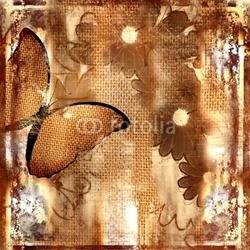 Plakat na papierze fotorealistycznym tło z motylem