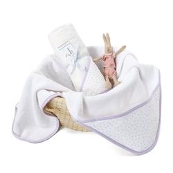 Colorstories - ręcznik bawełniany z kapturem 90×90 cm lavender dots m