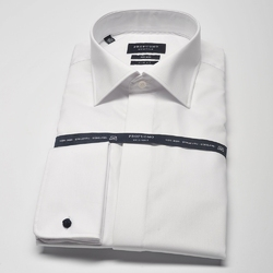 Elegancka biała koszula męska do muchy, mankiety na spinki, kryta listwa. 44