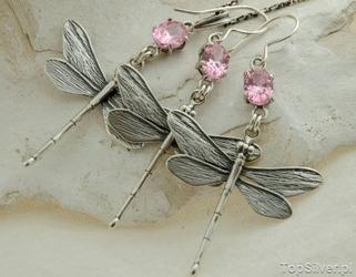 Ważki - srebrny komplet z kryształem swarovskiego