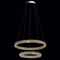 Lampa wisząca, dwa kryształowe okręgi led, zdalne sterowanie, multikolor chiaro 498014302