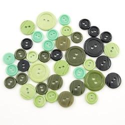 Kolorowe guziki 3 wielkości40 szt - khaki - khaki