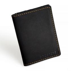 Cienki portfel ze skóry naturalnej brodrene sw04 czarny