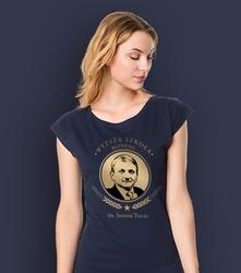 Wyższa szkoła biznesu im. janusza tracza t-shirt damski granatowy l