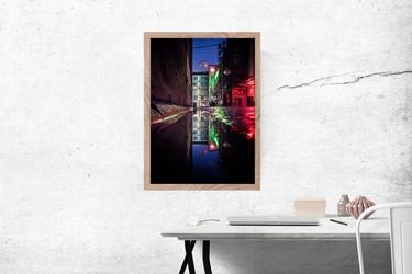 Wrocław neon - plakat premium wymiar do wyboru: 50x70 cm